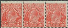 SG 99 ACSC 100(2)m., 100(2)m. KGV Head 2d Scarlet die II strip of 3 (AHSMP/462)